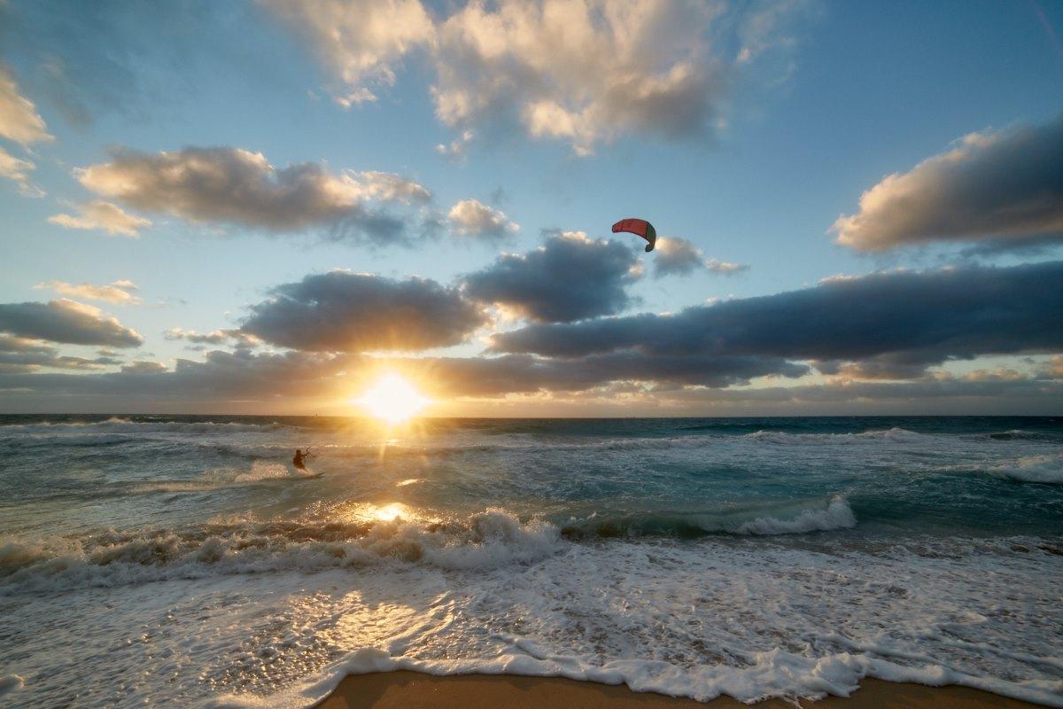 australien-44, meer, kiten, surfen, sonnenuntergang, perth