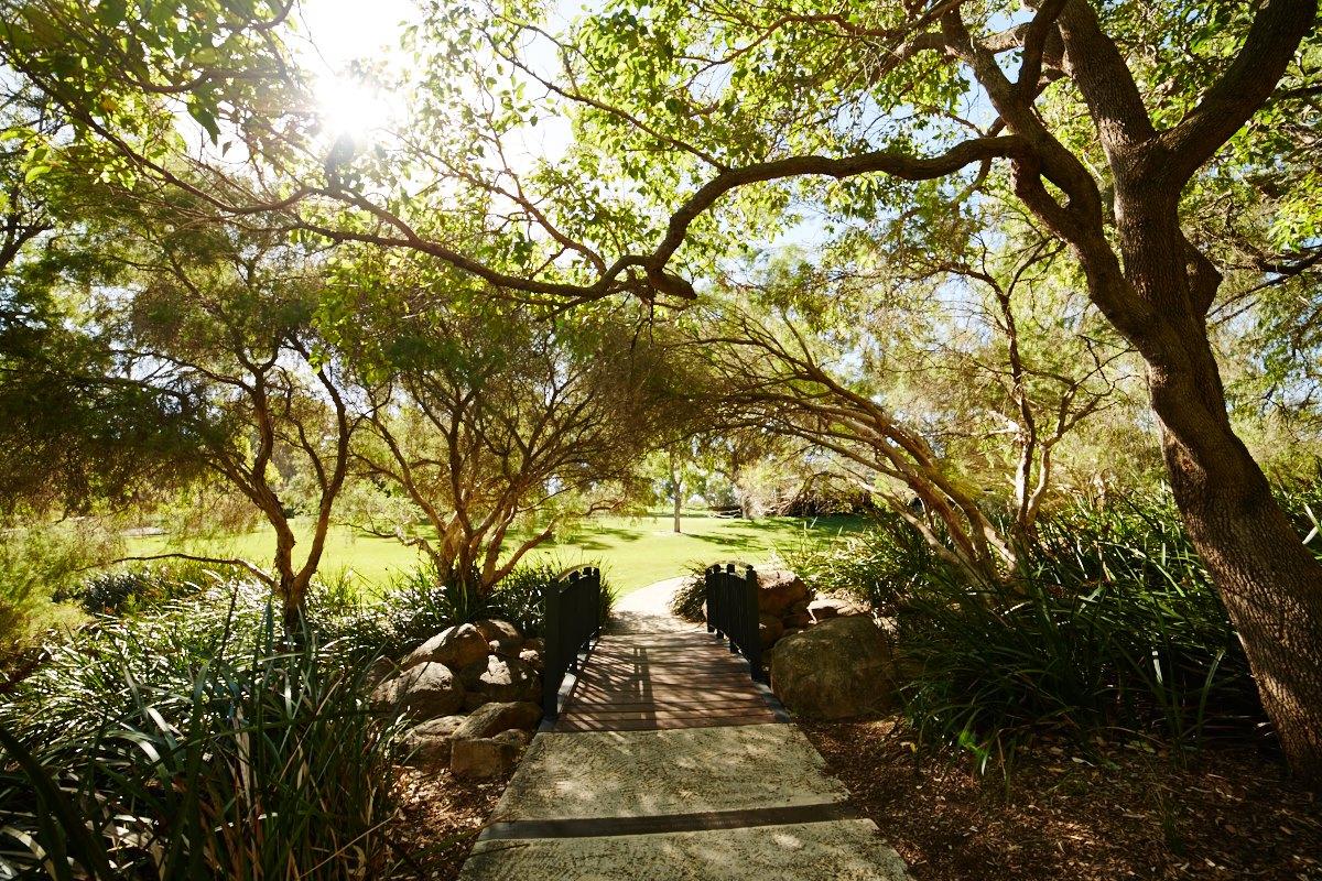 australien-42, botanischer garten, natur, landschaft, bruecke
