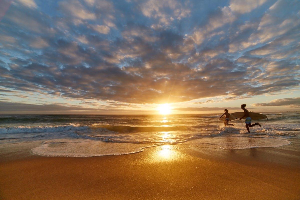 australien-21, surfen, meer, strand, sonne, sonnenaufgang