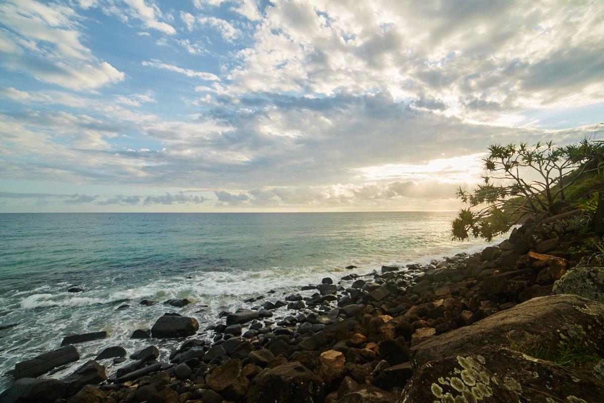 australien-15, strand, felsen, morgenstimmung, blau, himmel