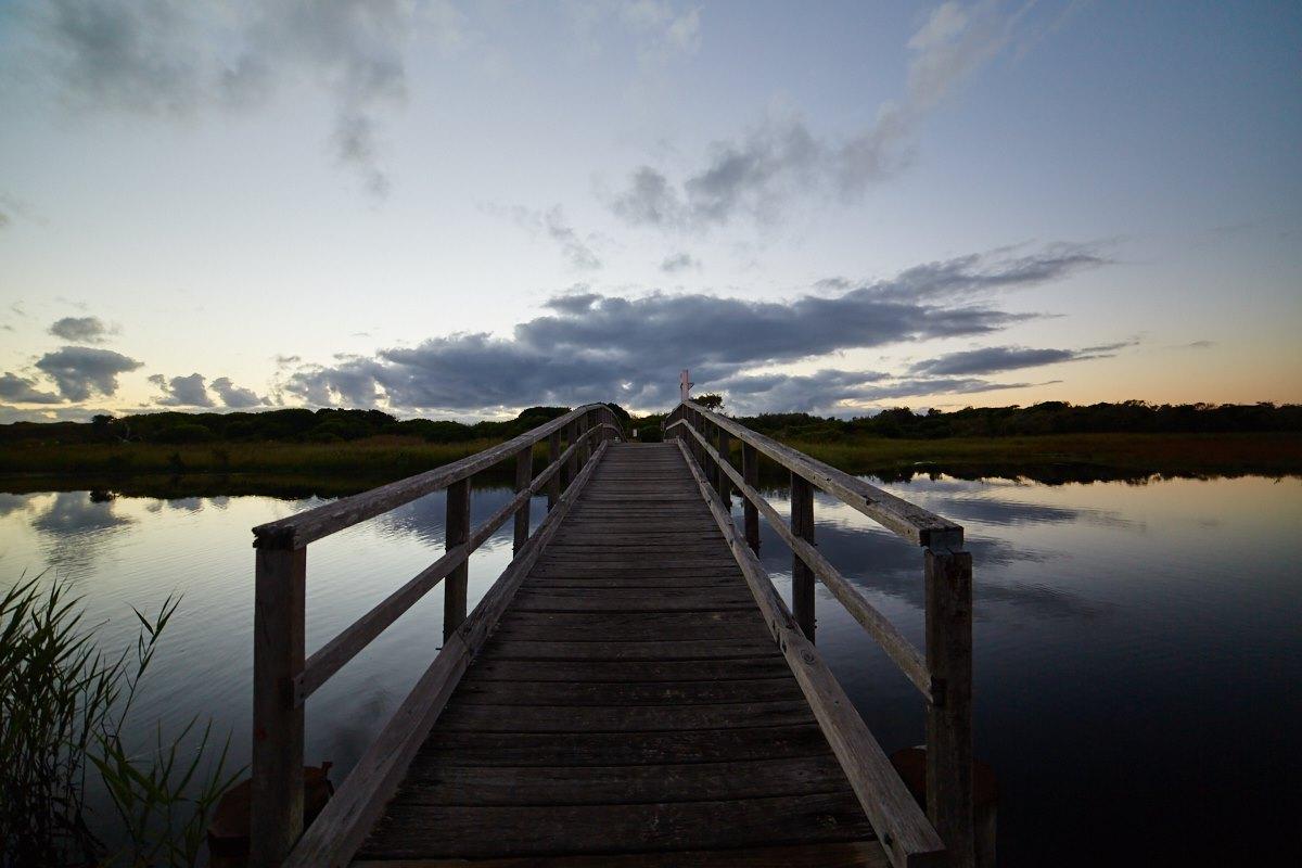 australien-8, brücke, see, sonnenaufgang, spiegelung