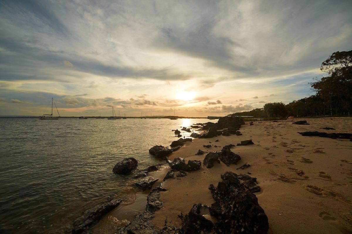 australien-1, meer, strand, felsen, sonnenuntergang